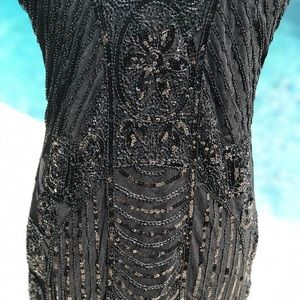 Vintage black sequin flapper style dress sz L